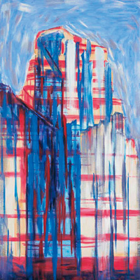 Cityscape with Blue Shadows #3 - Martha Diamond