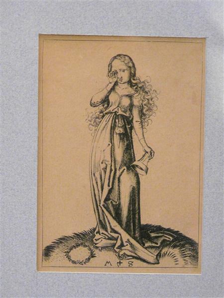 Engraving on copper of a Foolish Virgin, c.1480 - Martin Schongauer