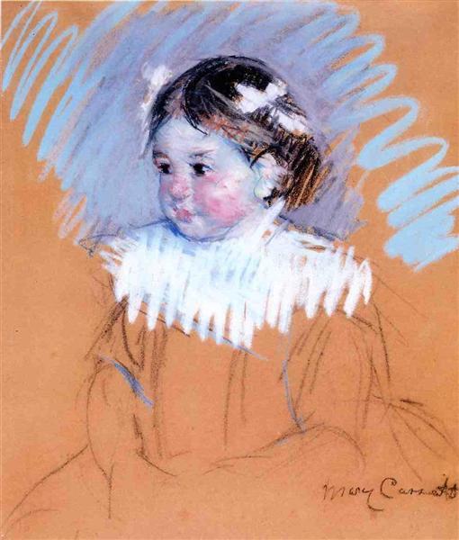 Bust of Ellen with Bows in Her Hair, c.1898 - Mary Cassatt