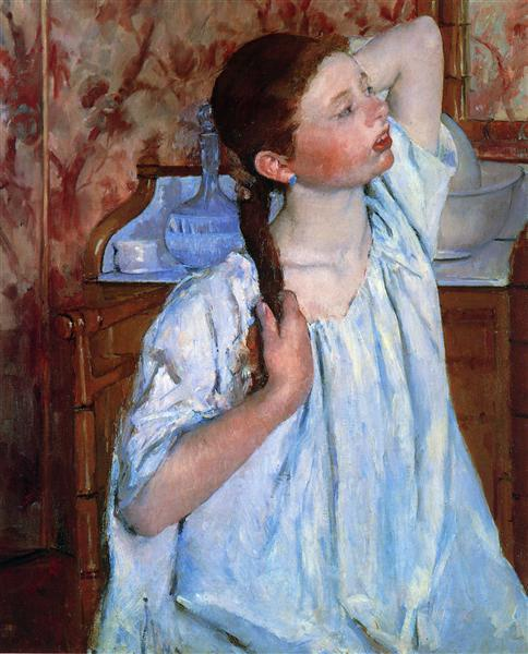 Girl ranging Her Hair, 1886 - Mary Cassatt