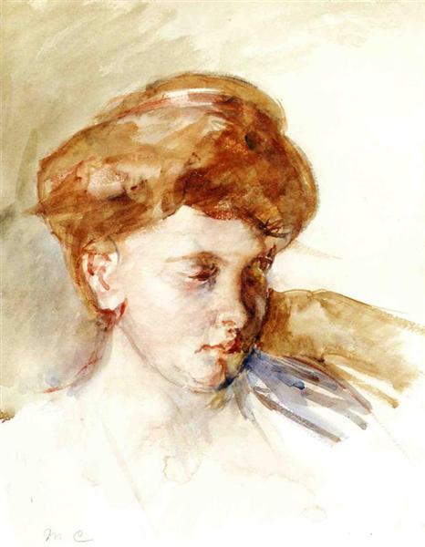 Head of a Young Woman, 1873 - Mary Cassatt