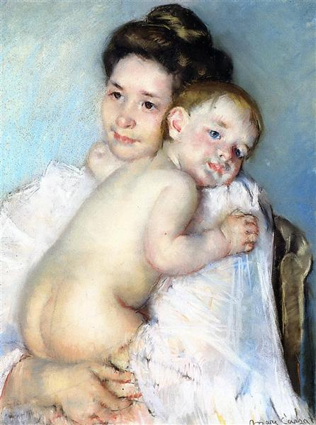 Mother Berthe Holding Her Baby, 1900 - Mary Cassatt