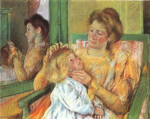Mother Combing Her Child's Hair - Mary Cassatt
