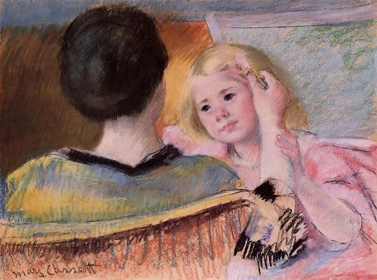 Mother combing Sara's hair, c.1901 - Mary Cassatt