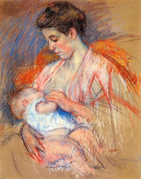 Mother Jeanne Nursing Her Baby, c.1907 - 1908 - Mary Cassatt