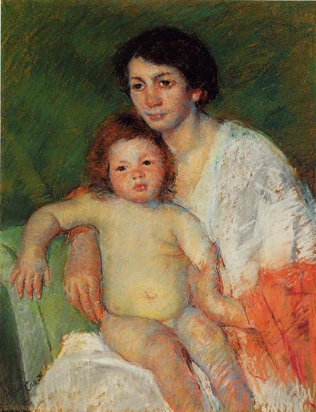 Nude Baby on Mother`s Lap Resting Her arm on the Back of the Chair, 1913 - Mary Cassatt