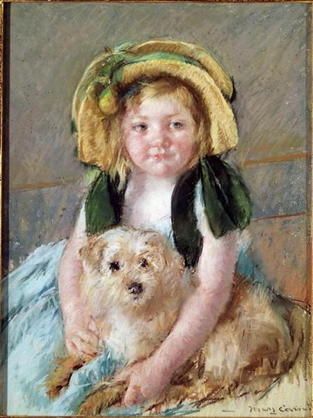 Sara with her dog - Mary Cassatt
