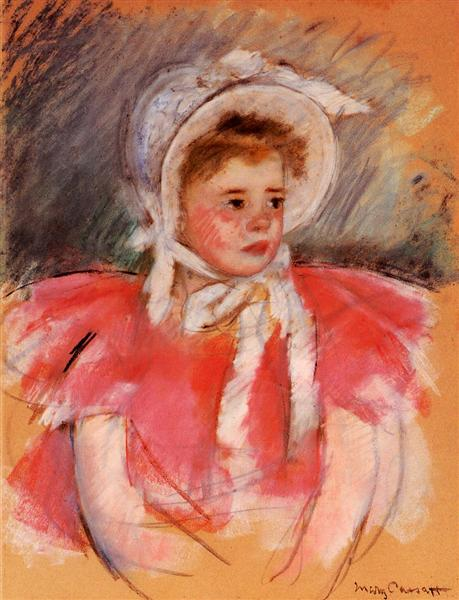 Simone in White Bonnet Seated with Clasped Hands (no.1), c.1903 - Mary Cassatt