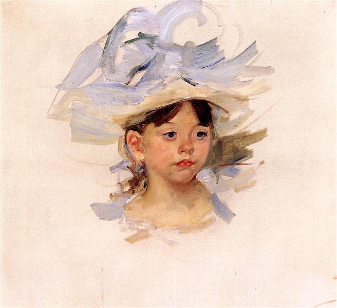 Sketch of  Ellen My Cassatt in a Big Blue Hat, c.1905 - Mary Cassatt