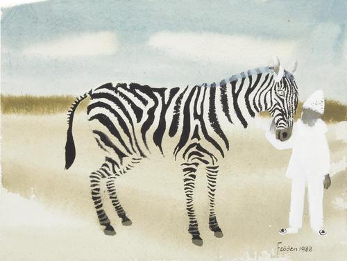 Man with zebra, 1988 - Mary Fedden