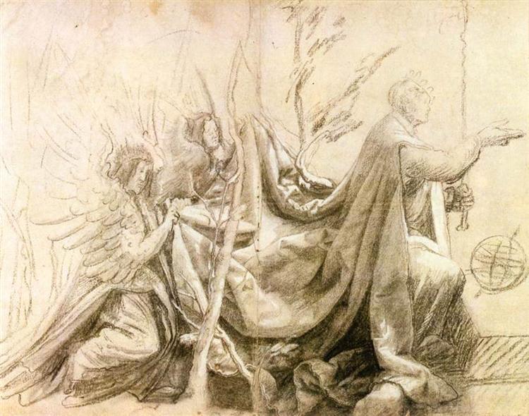 Kneeling King with Two Angels, 1515 - Matthias Grünewald