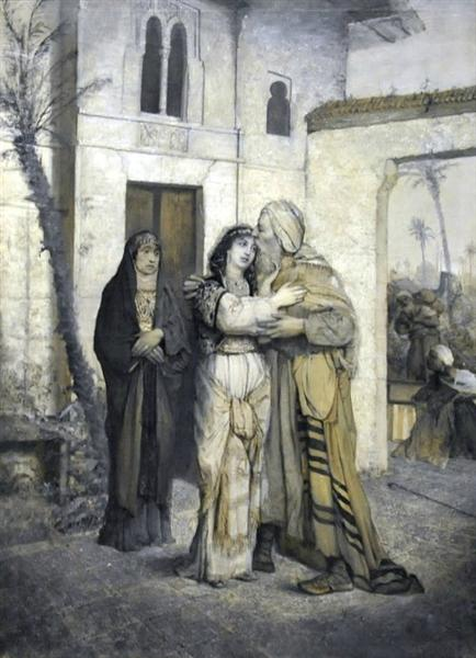 Recha welcoming her father, 1877 - Maurycy Gottlieb