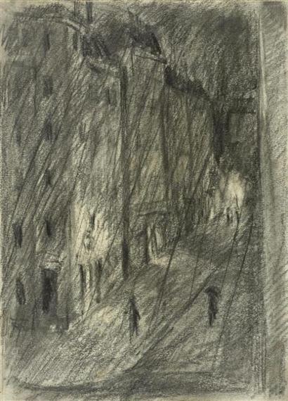 City street in the night, 1917 - Max Gubler