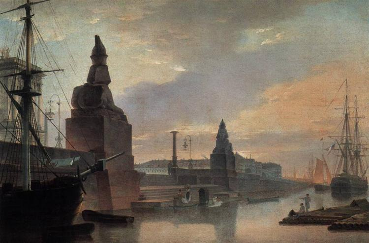 Sphinxes lining a quay in front of St. Petersburg Academy of Arts, 1835 - Maxim Vorobiev