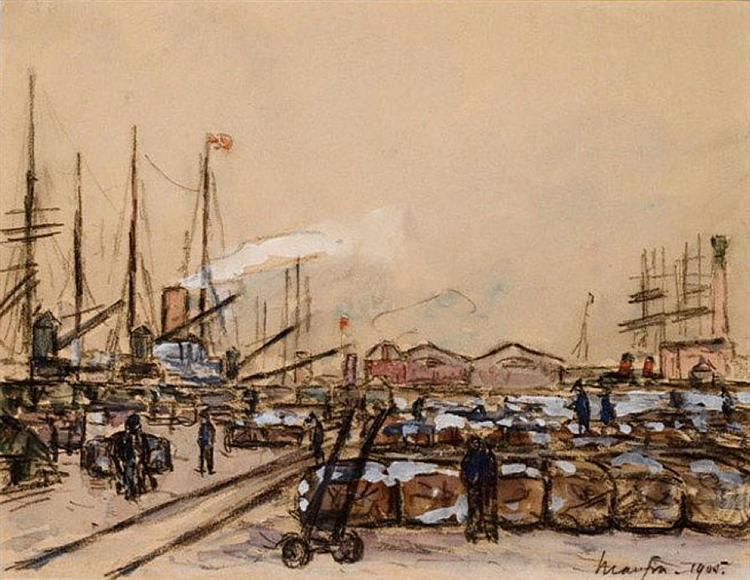 Quayside in Le Havre, 1905 - Maxime Maufra