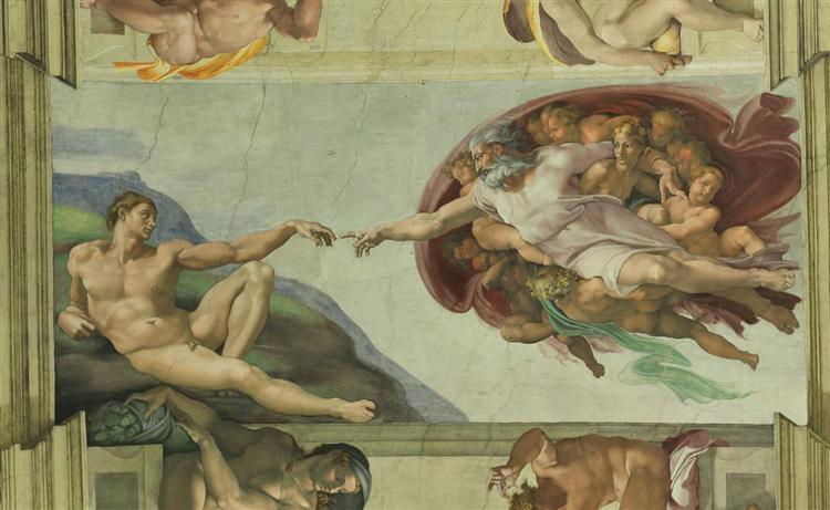 Sistine Chapel Ceiling: Creation of Adam, 1510 - Michelangelo