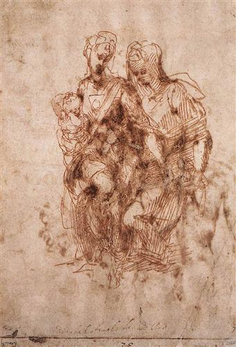 St. Anne with Virgin and Child Christ  - Michelangelo