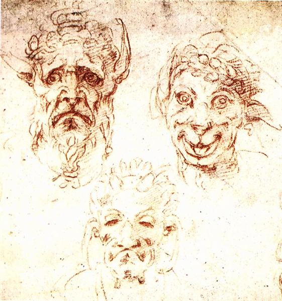 Studies of Grotesques, 1530 - Michelangelo