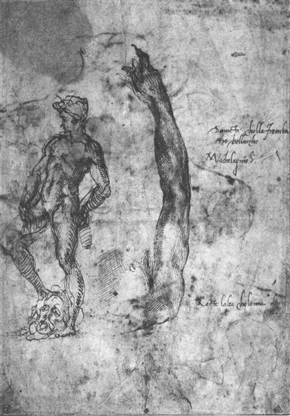 Study for an arm of the marble David and the figure of the bronze David, c.1503 - Michelangelo