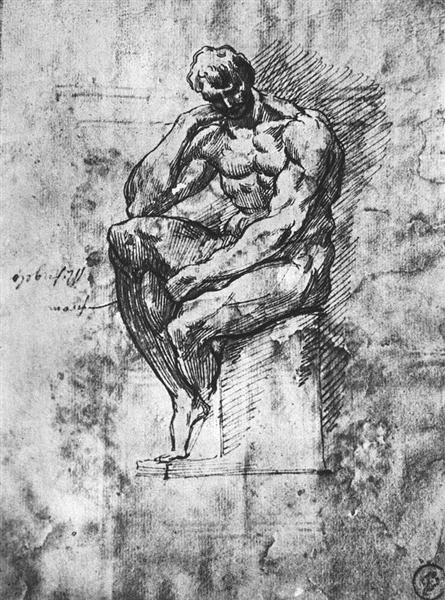 Study of nude man, 1510 - 1511 - Michelangelo
