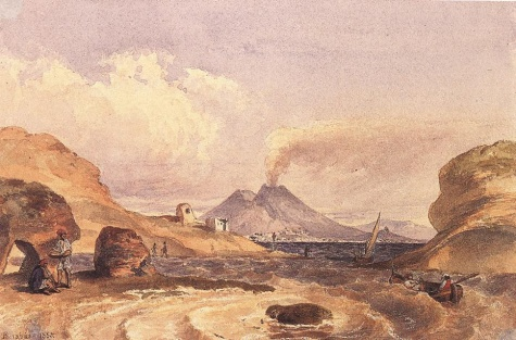 Vesuvius Seen from the Island of Capri, 1835 - Miklós Barabás
