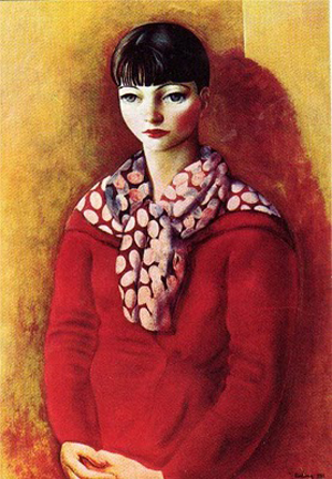Kiki de Montparnasse in a red dress - Moise Kisling