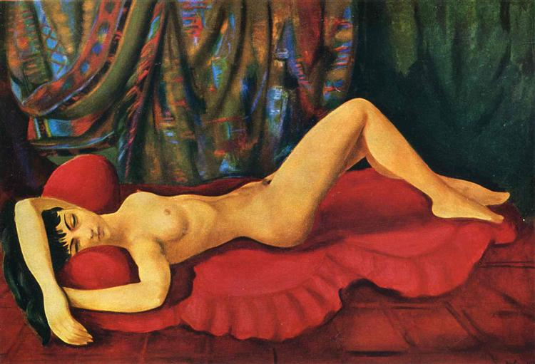 Large nude Josan on red couch, 1953 - Moise Kisling