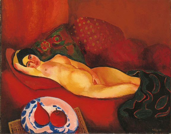 Nude on red couch - Moise Kisling
