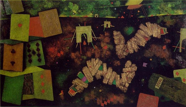 For the Fallen - Center panel: The House of Cards, 1956 - Mordecai Ardon