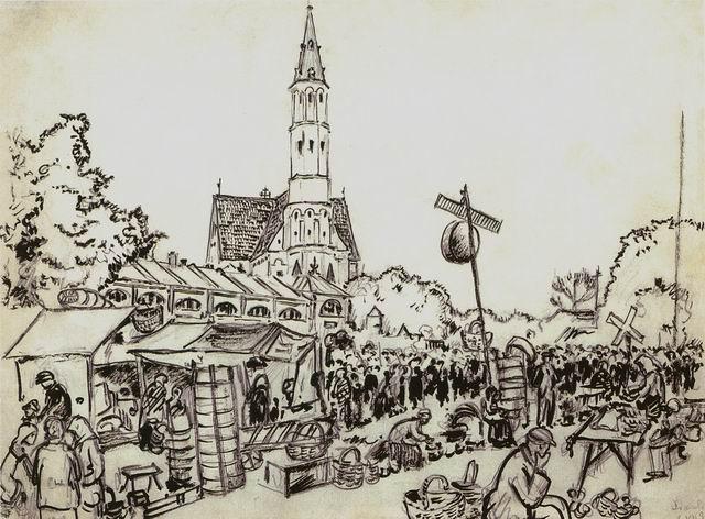 Marketplace in Siauliai, 1934 - Mstislav Dobuzhinsky