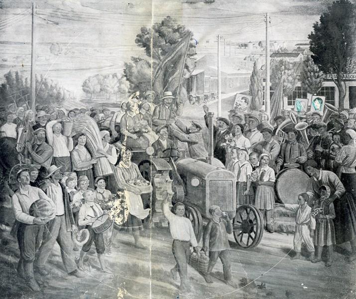 Frescoes of Kharkiv Chervonozavodsky theatre - The holiday of harvest, c.1935 - Mykhailo Boychuk