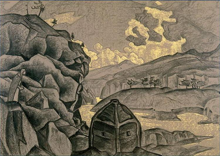 "Study of scene design for ""Peer Gynt"", 1912 - Nicholas Roerich"