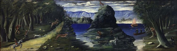Hunting Scene with a View of the Black Sea, 1912 - Niko Pirosmani