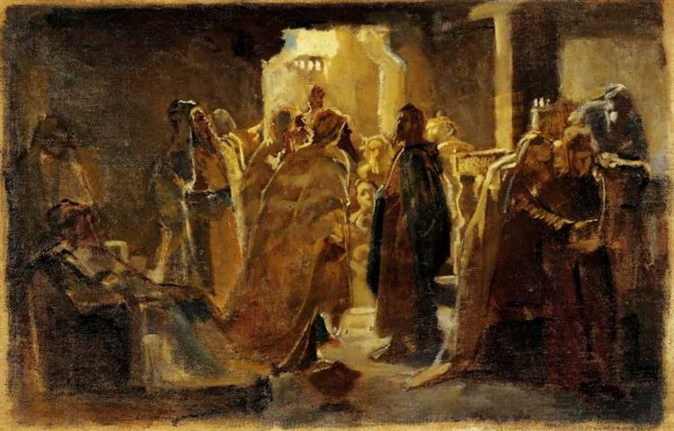 Christ in the synagogue, 1868 - Nikolai Ge