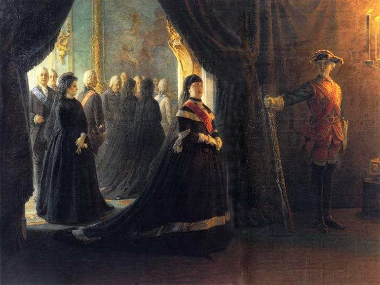 Catherine II (1729-96) at the Coffin of Empress Elizabeth (1709-61), 1874 - Николай Ге