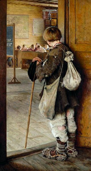 At School Doors, 1897 - Nikolay Bogdanov-Belsky