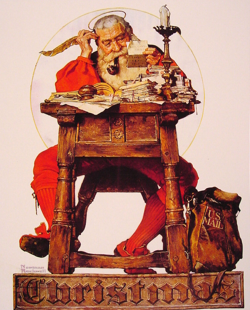 Christmas Santa Reading Mail, 1935 - Norman Rockwell - WikiArt.org