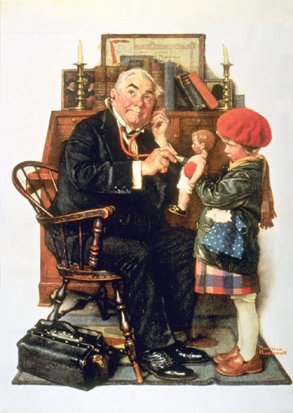 Norman Rockwell doctor examines doll