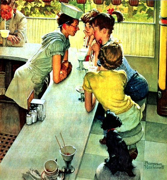 The Soda Jerk, 1953 - Norman Rockwell