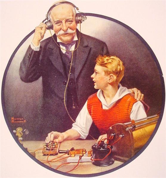 Grandpa Listening In on the Wireless, 1920 - Norman Rockwell