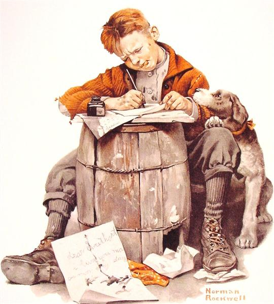 Little boy writing a letter, 1920 - Norman Rockwell