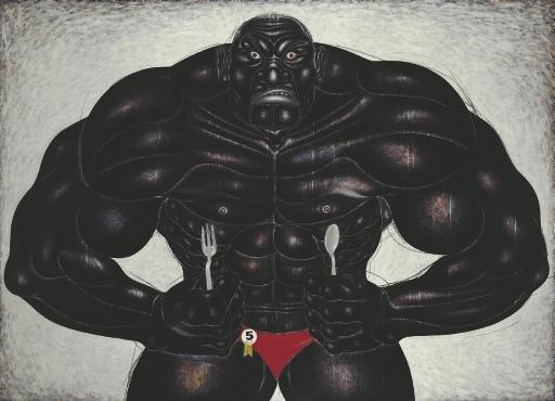 Badanku Kurang Besar (My body is not big enough), 2001 - Nyoman Masriadi