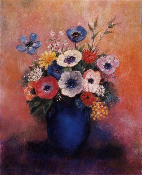 Bouquet Of Flowers In A Blue Vase Odilon Redon Wikiart Org