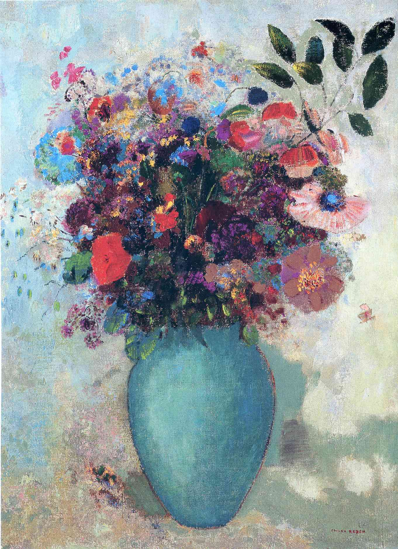 Flowers In A Turquoise Vase C 1912 Odilon Redon