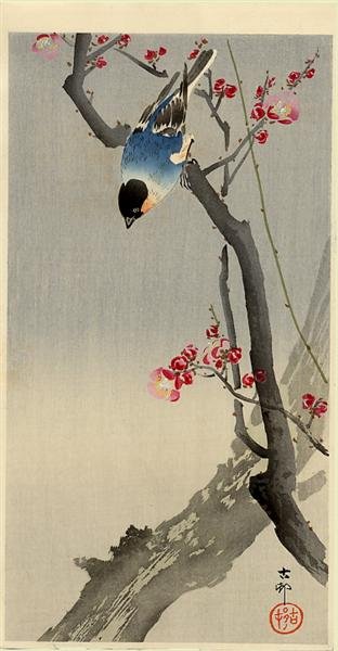Bullfinch on Flowering Plum - Ohara Koson