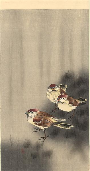 Three Tree Sparrows in a rain shower - Ohara Koson