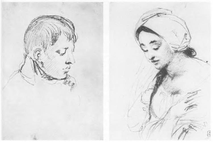 Head of a boy. Portrait of a girl with a braid, 1807 - Orest Kiprensky