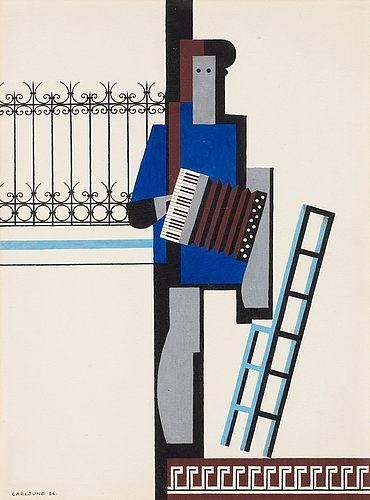 Musician with accordion/Blue bar - Otto Gustav Carlsund