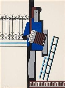 Musician with accordion/Blue bar - Otto Gustav Carlsund