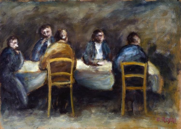 Cinque uomini al tavolo - Ottone Rosai